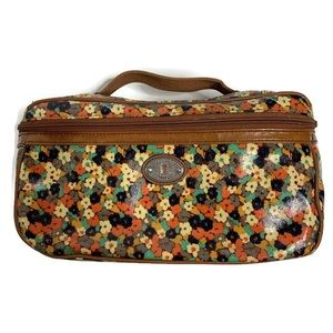 Fossil Brown/Pink/Blue Floral Cosmetic Make Up Bag